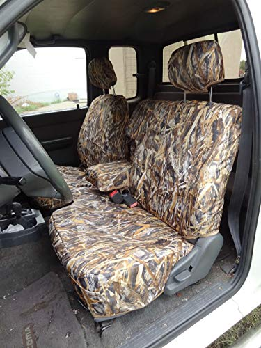 T772-Bull Rush Camo 1995-2000 Toyota Tacoma Xcab Front 60/40 Split Bench Seat Integrated Armrest Seat Covers in Waterproof Endura. ()