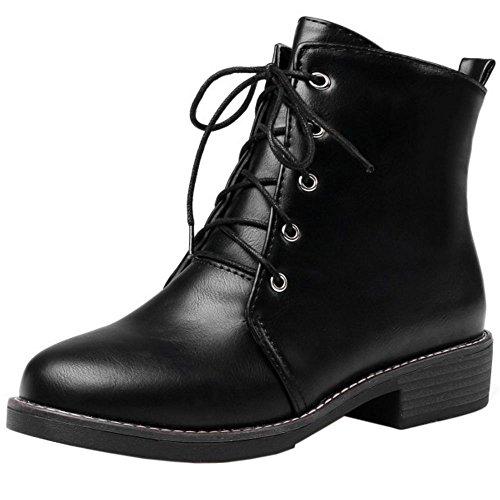 COOLCEPT Women Martin Boots Lace Up Black S0w9eCCN
