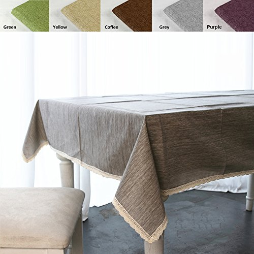 "ColorBird Solid Cotton Linen Tablecloth Waterproof Macrame Lace Table Cover for Kitchen Dinning Tabletop Decoration (Rectangle/Oblong, 55""x120"", Grey)"