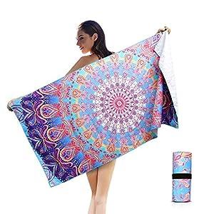AtailorBird Telo Mare Grande Asciugamano da Spiaggia in Microfibra 150 * 75cm Bohemian Mandala Leggero Tasca Altamente Assorbente Asciugatura Rapid per Yoga, Piscina, Picnic e Bagno (Modello 1) 9 spesavip