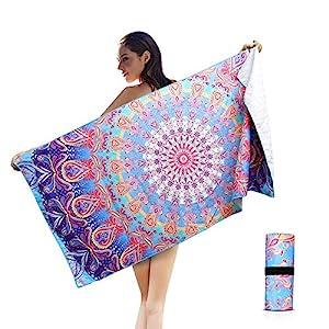 AtailorBird Telo Mare Grande Asciugamano da Spiaggia in Microfibra 150 * 75cm Bohemian Mandala Leggero Tasca Altamente… 1 spesavip