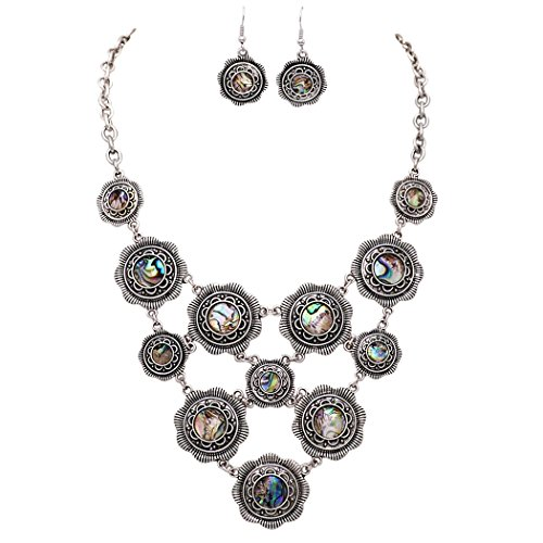 Rosemarie Collections Women's Flower Disc Statement Bib Necklace Earrings Set (Abalone Shell)