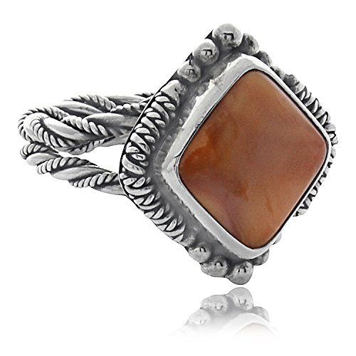 Sterling Silver .925 Wire Orange Spiny Oyster Shell Diamond Shaped Ring (6) - Orange Spiny Shell