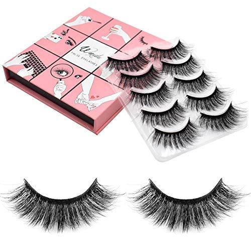 Fake Eyelashes Wenida 5 Pairs Professional Handmade Reusable 3D Soft Dramatic Fluffy Long Deluxe False Eyelashes Set
