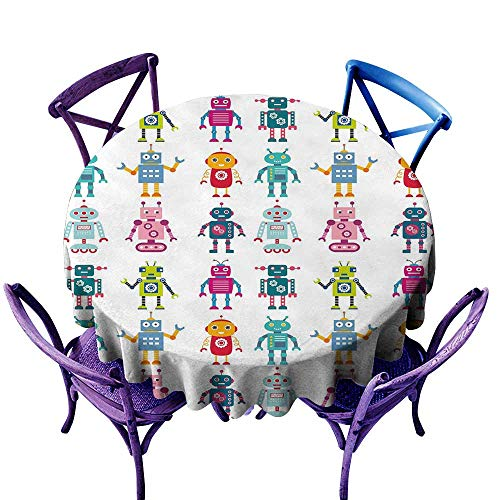 WinfreyDecor Nursery Waterproof Tablecloth Colorful Cartoon Set of Robot Figures Futuristic Funny Mascots Friendly Androids Great for Buffet Table D59 Multicolor ()