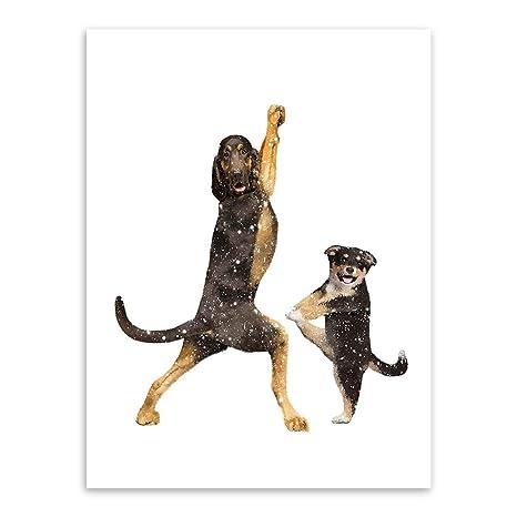 SHBKGYDL Impresión De Lienzo,Yoga Animales Mascotas Perros ...