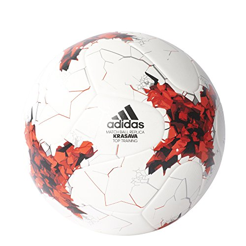 (adidas Performance Confederations Cup Top Replique Soccer Ball, White/Red/Power Red/Clear Grey, Size 5)