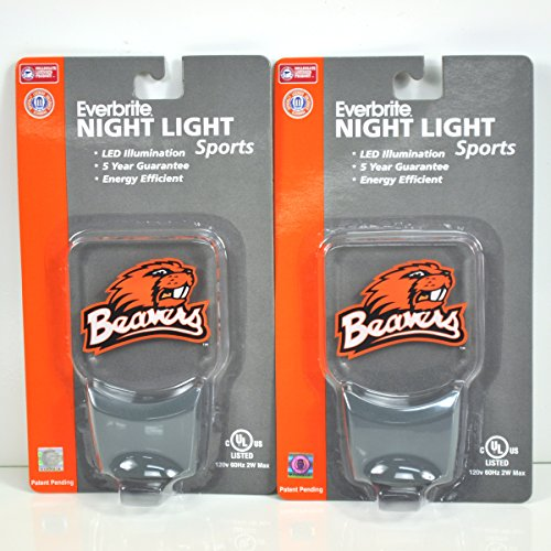 (Authentic Street Signs 2-Pack NCAA Officially Licensed, LED Night Light, Super Energy Efficient-Prime Power Saving 0.5 watt,Great Sports Fan Gift for Adults-Babies-Kids (Oregon State Beavers))