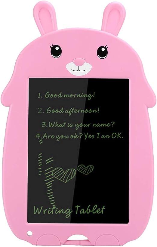 LCDライティングボード、8.5インチかわいいLCDライティングパッドライトエネルギー電子黒板デジタルカラー手書き描画パッド描画タブレットギフト子供向け(ピンク)(ピンクのウサギ)