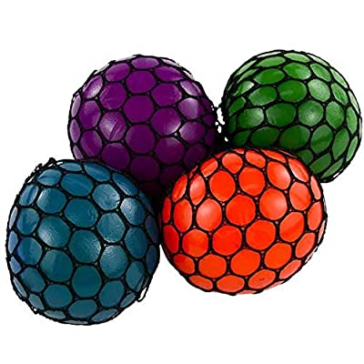Rhode Island Novelty 3 Inch Mesh Squishy Balls, Pack of 12: Toys & Games