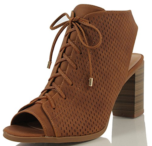 City Classified Women's Wallet Lace Up Back Cutout Stacked Heel Ankle Bootie