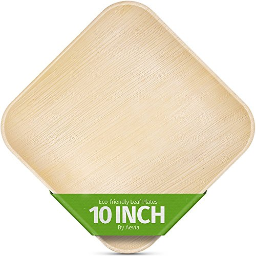 "10"" Square Palm Leaf Plates. 25 Pack. Disposable, Biodegradable, and Eco-Friendly Dinnerware. Thick, Sturdy and Microwave Safe. Great for Parties, Weddings, BBQs and Dinner Events. By Aevia."