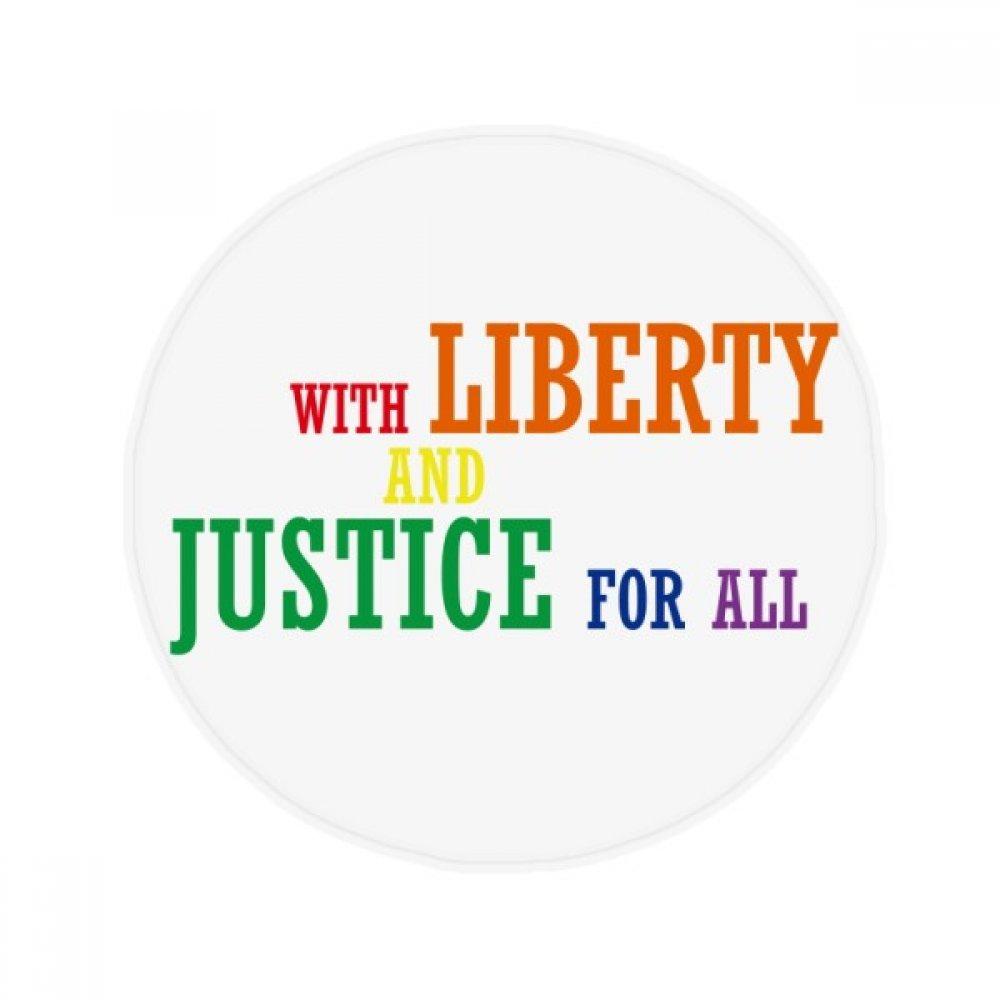 60X60cm DIYthinker LGBT Rainbow Flag Liberty and Justice Anti-Slip Floor Pet Mat Round Bathroom Living Room Kitchen Door 60 50Cm Gift