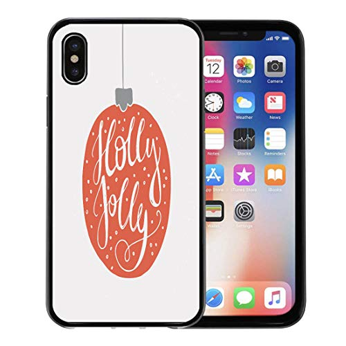 Emvency Phone Case for Apple iPhone Xs Case/iPhone X Case,Christmas Holly Jolly Unique Handdrawn Perfect for Flyers Soft Rubber Border Decorative, Black