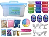 Slime Kit - 35 piece Include 12 crystal, 3 galaxy, 1 fluffy slime, glitter, foam beads, fruit and heart slices, clear cups, box containers. Silly Putty glue supplies activator cheap diy homemade cloud