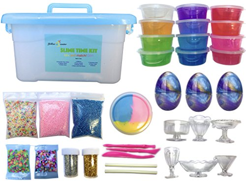 Slime Kit - 35 piece Include 12 crystal, 3 galaxy, 1 fluffy slime, glitter, foam beads, fruit and heart slices, clear cups, box containers. Silly Putty glue supplies activator cheap diy homemade cloud by Yellow Rooster LLC
