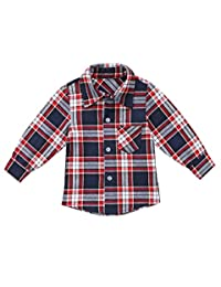 Toddler Kids Baby Boy Cotton Long Sleeve Plaids Shirt Tops Blouse Clothes