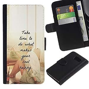 Be Good Phone Accessory // Caso del tirón Billetera de Cuero Titular de la tarjeta Carcasa Funda de Protección para Samsung Galaxy S6 SM-G920 // happy love motivational artist paint