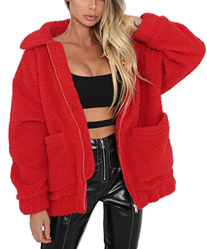 PRETTYGARDEN Women's Fashion Long Sleeve Lapel Zip Up Faux Shearling Shaggy Oversized Coat Jacket with Pockets Warm Winter (Red, XXX-Large)