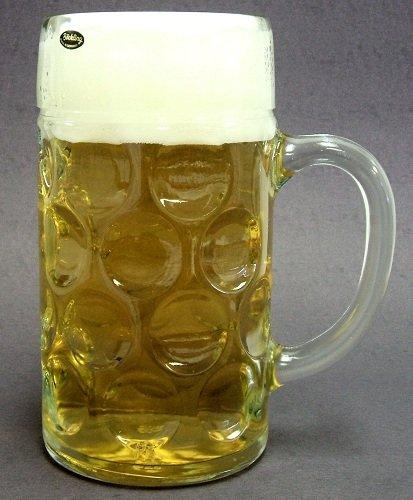 One Liter Plain German Glass Dimple Beer Mug