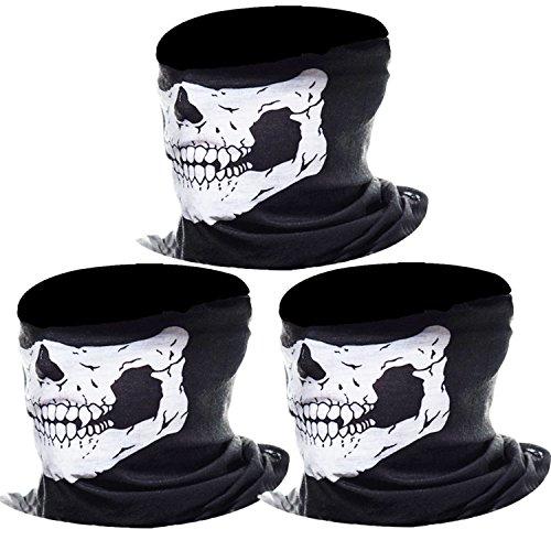 eBoot 3 Pack Seamless Skull Face Tube Mask - Ghost Mask