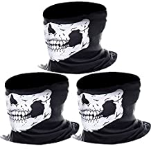 eBoot 3 Pack Seamless Skull Face Tube Mask Motorcycle Face Mask Outdoor Mask Sport Headwear (White)