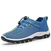 YUBUKE Men Outdoor Leather Hiking Shoes Breathable Lightweight Sneaker Walking Trekking(Royal Blue 44/10 D(M) US Men)