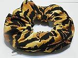 Leopard stripes gold & Black design Handmade Scrunchie Purse w zipper storage Great for Gym Swim Jog