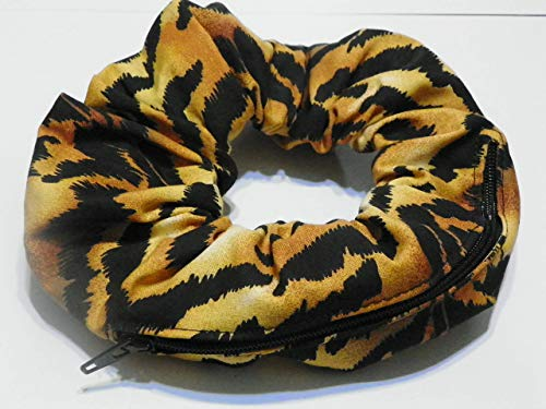 Leopard stripes gold & Black design Handmade Scrunchie Purse w zipper storage Great for Gym Swim Jog by Yvonnes Alterations & Designs