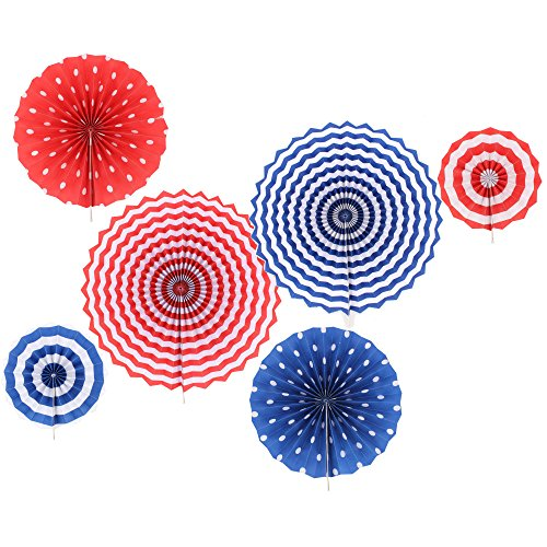 Zicome 6 Pack Fourth of July Party Decorations Patriotic Hanging Paper (Fourth July Decorations)
