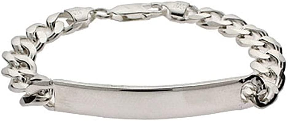Sterling Silver Rhodium-plated Medical ID Curb Link Bracelet Weight: 18.76 grams Length 8mm Width mm