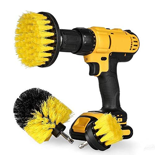 Brush Drill Attachment Cleaning Kit 3 Pack - Yellow 2''/4''/5'' Scrubber Set Brushes - Power Saving Time Cleaner For Bathroom Tile, Grout, Shower, Kitchen Tub Surface