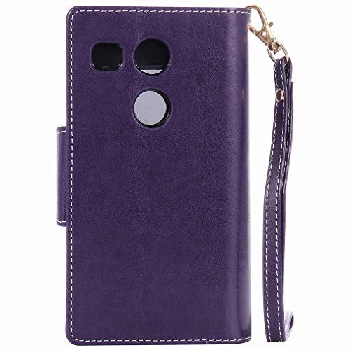 Yiizy LG Nexus 5X Funda, Chica Repujado Diseño Solapa Flip Billetera Carcasa Tapa Estuches Premium PU Cuero Cover Cáscara Bumper Protector Slim Piel Shell Case Stand Ranura para Tarjetas Estilo (Púrpu