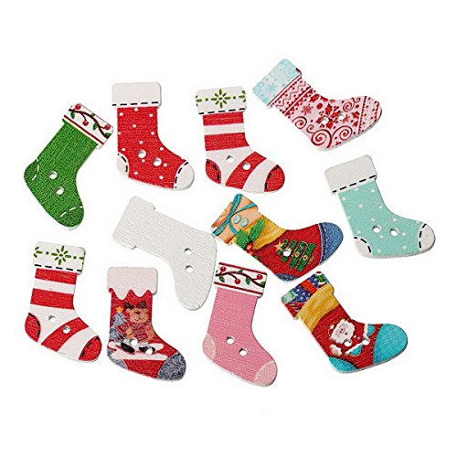 100pcs Mixed 2 Holes Wood Buttons Christmas Stocking Pattern Sewing Scrapbooking 3x2.1cm