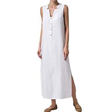 2578cff43e8ef MRULIC Robe Maxi à col en V Femme Kaftan Baggy Long Robes ...