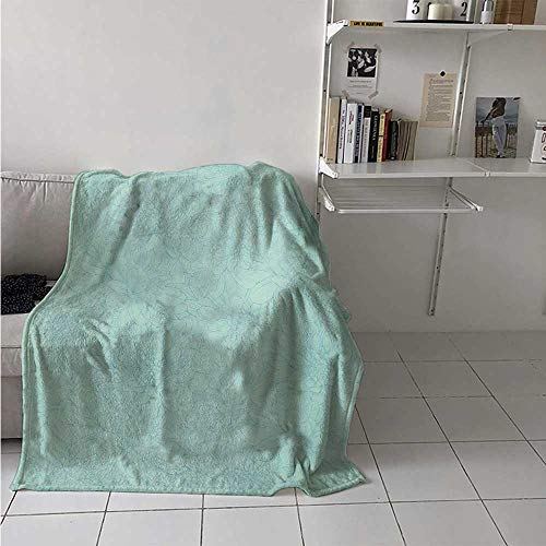 - maisi Turquoise Super Soft Lightweight Blanket Dahlia Flowers Bouquet Hand Drawn Style with Brush Strokes Effect Ornamental Art Oversized Travel Throw Cover Blanket 70x50 Inch Pale Blue