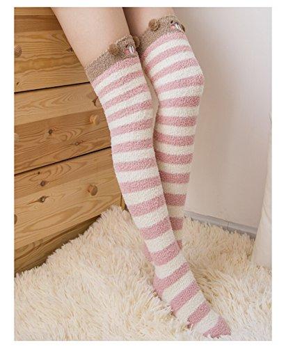 Fur Christmas Soft Stocking (Bopstyle Christmas Soft Warm Socks Coral Velvet Knee High Stockings for Girls Gift,Bear,One Size)
