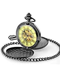SOKI Luminous Dial For Dark Area Double Hunter Mens Black Mechanical Hand Winding Pocket Watch