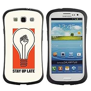 """Hypernova Slim Fit Dual Barniz Protector Caso Case Funda Para SAMSUNG Galaxy S3 III / i9300 / i747 [Bombilla estadía Actitud Cita Vida""""]"""