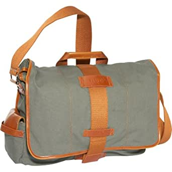Nuo Tech  Canvas Messenger Bag-Color: Olive & Burnt Orange
