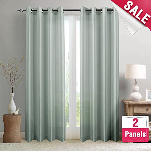 Faux Silk Satin Curtains 95 inch Length for Bedroom Window Curtain Panels Dupioni Light Reducing Drapes for Living Room Window Treatment Set, Grommet Top, 1 Pair, (Modern Curtain Panels)