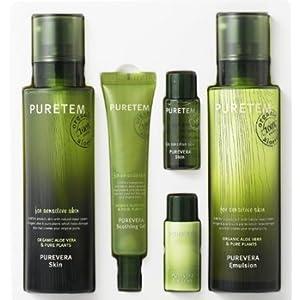 Puretem Purevera Facial Skin Care 2 Items Set (100% Organic Aloe Vera) by Kwailnara