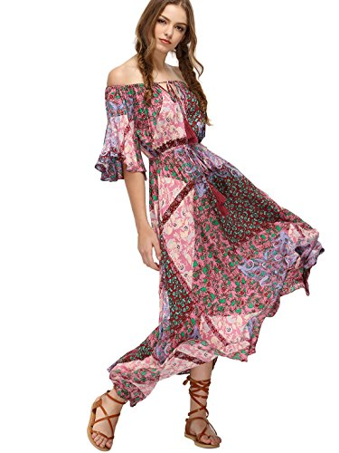 Unique Style Dress - Milumia Women's Boho Off The Shoulder Swing Maxi Dress Large Pink_Green
