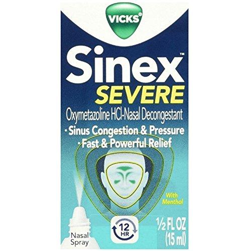 (Vicks Sinex Severe Nasal Spray with Menthol 0.50 oz( Pack of 3))