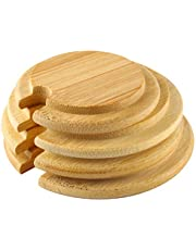 Larcele Wooden Mug Cover Bamboo Cup Lids with Spoon Hole BG-01 Pack of 4