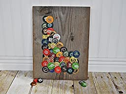 Idaho Beer Cap Reclaimed Barnwood Home Décor Repurposed Beer Caps Placed in the Shape of Idaho.