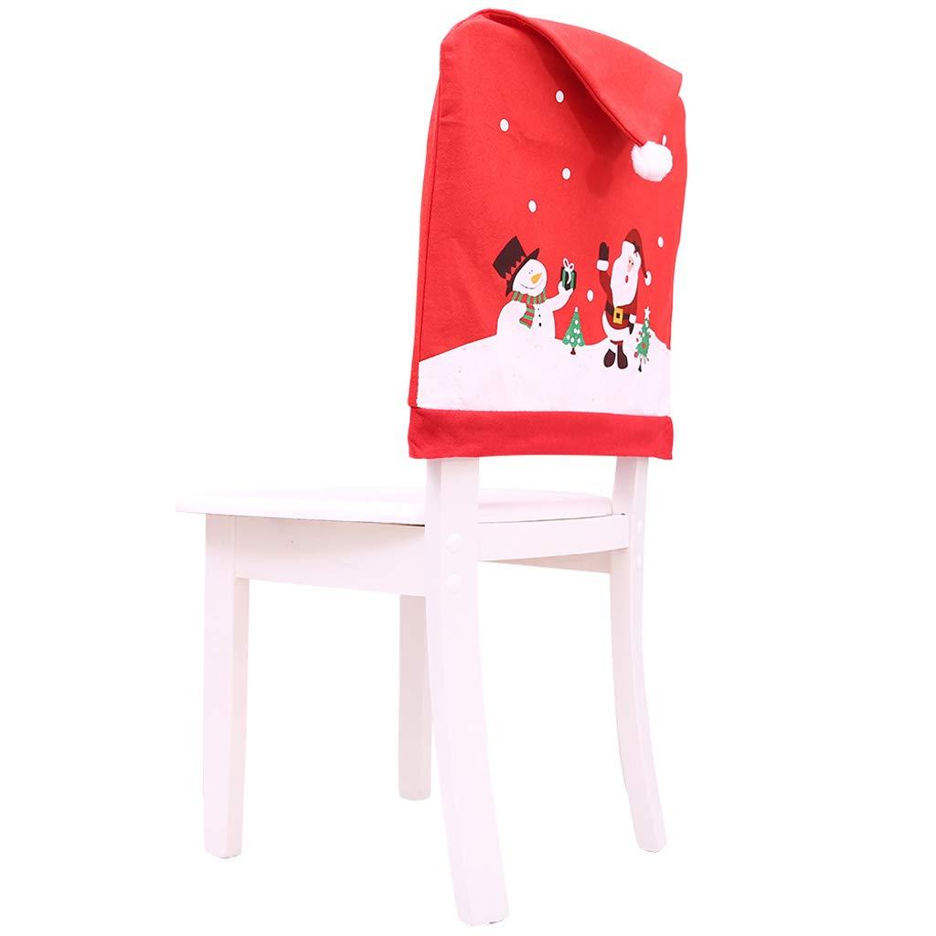 Lunji - Set di 6 coprisedia a Forma di Babbo Natale, Colore Rosso
