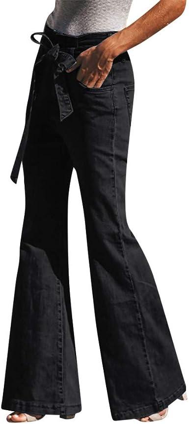 USA Womens Flare Bell Bottom Denim Pants Mid Waist Slim Bootcut Jeans Trousers