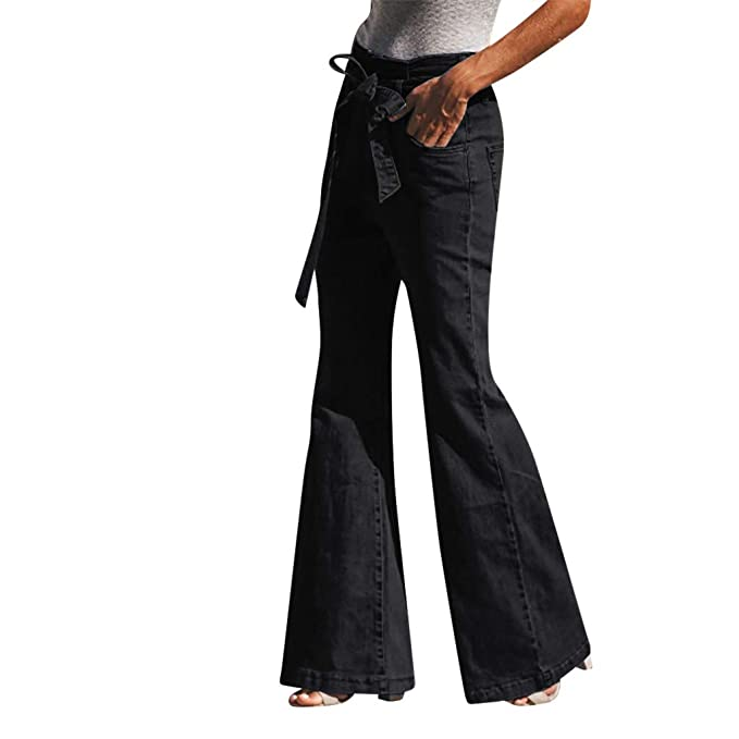 c6345b254f5 JOFOW Womens Flare Jeans Denim Bell Bottom High Waist Drawstring Distressed  Tunic Casual Loose Long Pants