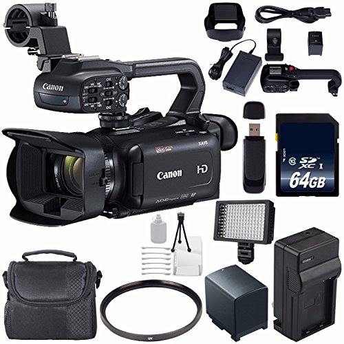 Canon XA15 Compact Full HD ENG Camcorder #2217C002 + 64GB Memory Card + BP-820 Replacement Lithium Ion Battery Bundle